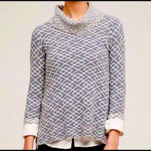 Anthropologie Moth Grey geometric high low sweater